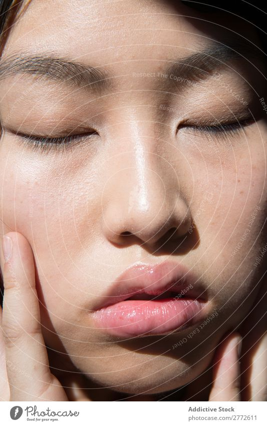 Beautiful face of Asian woman Face asian eyes closed cheeks Touch Woman Youth (Young adults) Human being Beauty Photography Portrait photograph pretty Model