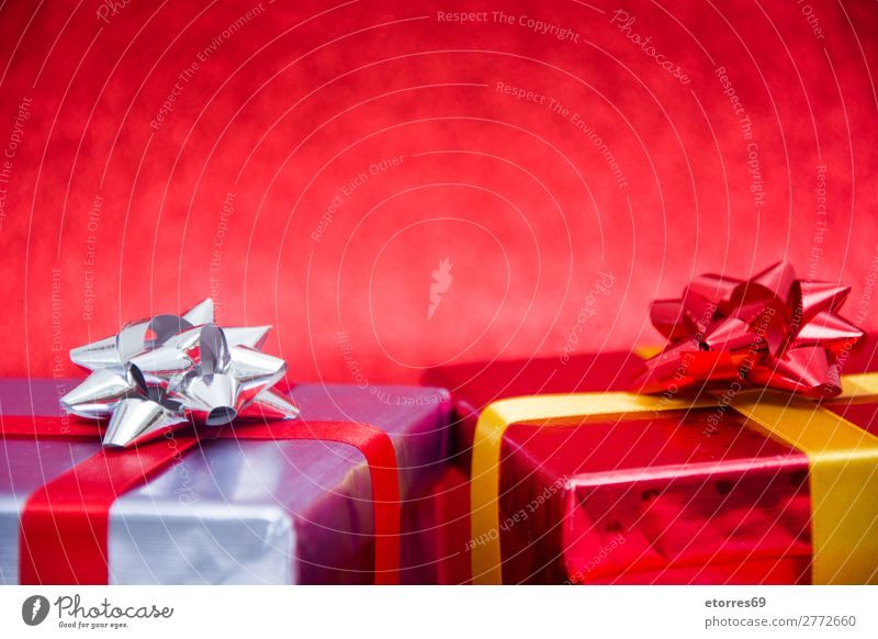 Christmas gifts presents on red glitter background. Copyspace Vacation & Travel Christmas & Advent Red Feasts & Celebrations Gift Paper Public Holiday Box
