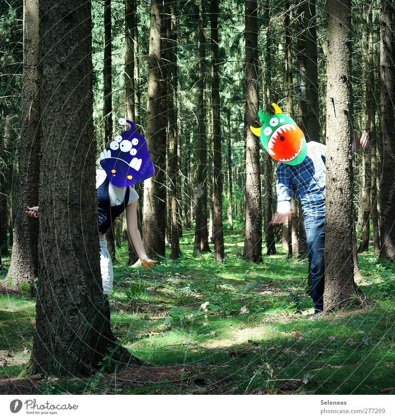 we like monsters Trip Summer Sun Environment Nature Landscape Spring Beautiful weather Plant Tree Moss Forest Clothing Accessory Mask Observe Laughter Together