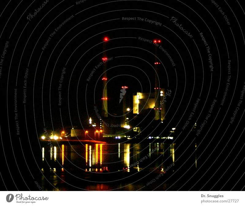 Water Dark Lighting Industry Chimney Electricity generating station Rhine Karlsruhe Rhineland-Palatinate Sea of light Wörth am Rhein