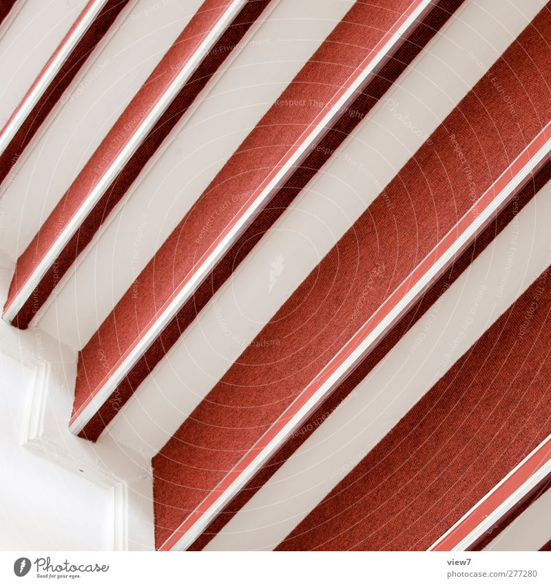 upward Arrange Interior design Wall (barrier) Wall (building) Stairs Line Stripe Authentic Fresh Modern New Positive Cliche Red Beginning Esthetic Elegant