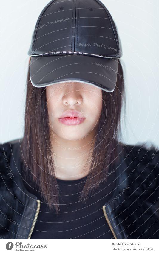 Pretty stylish Asian woman posing in studio Woman Style fashionable asian Cap Hat Beautiful Fashion Beauty Photography Youth (Young adults) Model