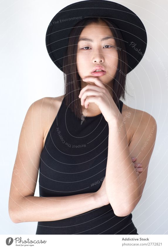 Young Asian woman with posing in studio with hat Woman Style fashionable asian Hat Beautiful Fashion Beauty Photography Youth (Young adults) Model
