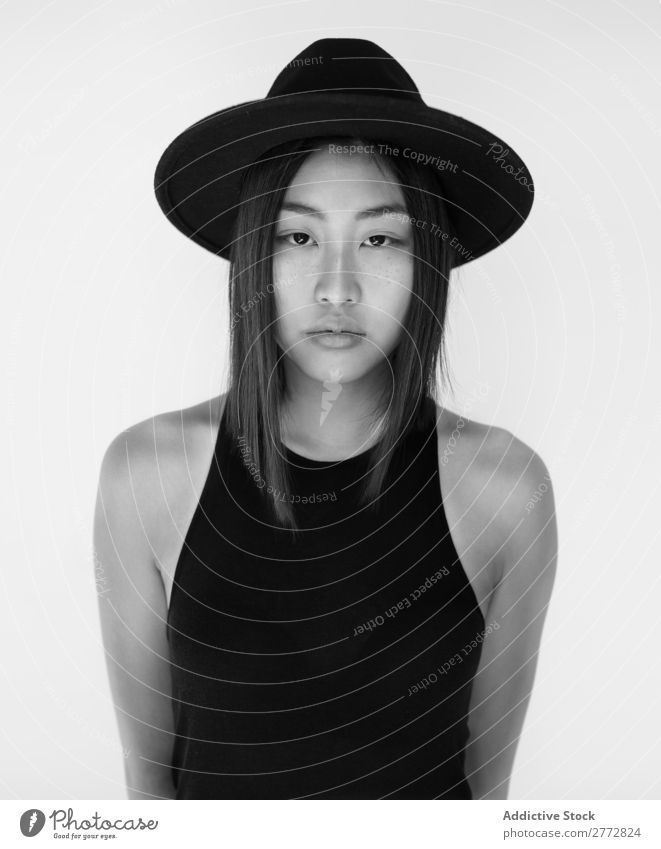 Pretty stylish Asian woman posing in studio Woman Style fashionable asian Cap Hat Beautiful Fashion Beauty Photography Youth (Young adults) Model