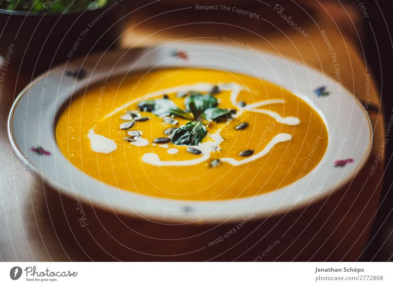 Pumpkin soup on the plate Healthy Eating Dish Food photograph Interior shot Kitchen Cooking Lunch Flat (apartment) homemade Vegan diet Vegetarian diet