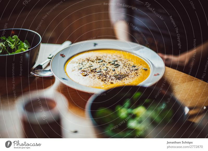 Pumpkin soup on the plate and salad Healthy Eating Dish Food photograph Interior shot Kitchen Cooking Lunch Vegan diet Vegetarian diet Living or residing