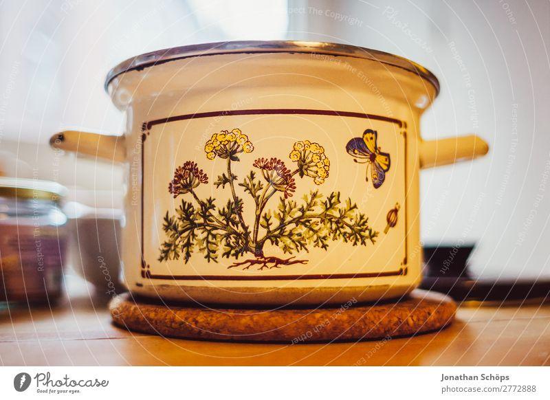 nostalgic pot on the kitchen table Food Nutrition Lunch Flat (apartment) Contentment Joie de vivre (Vitality) Healthy Eating Cooking Pot Kitchen Table