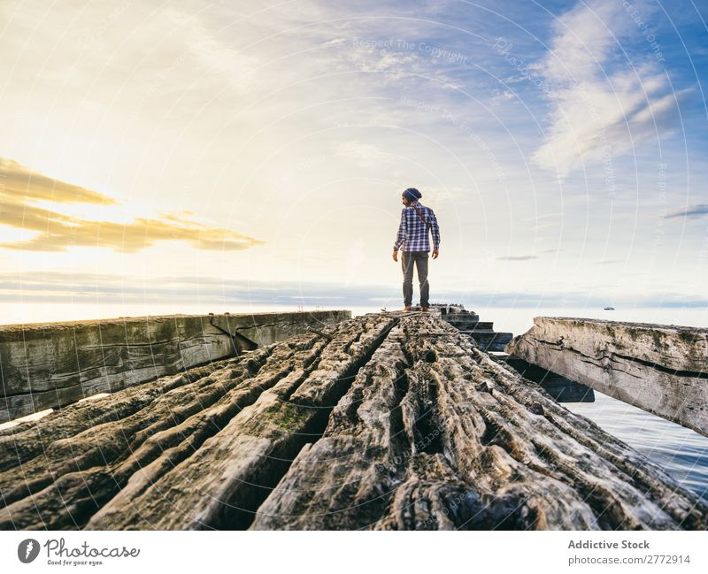 Traveler posing on ruined pier traveler Jetty Ruin abandoned Landscape Tourism Adventure remains Vacation & Travel Loneliness Vantage point Nature Ocean