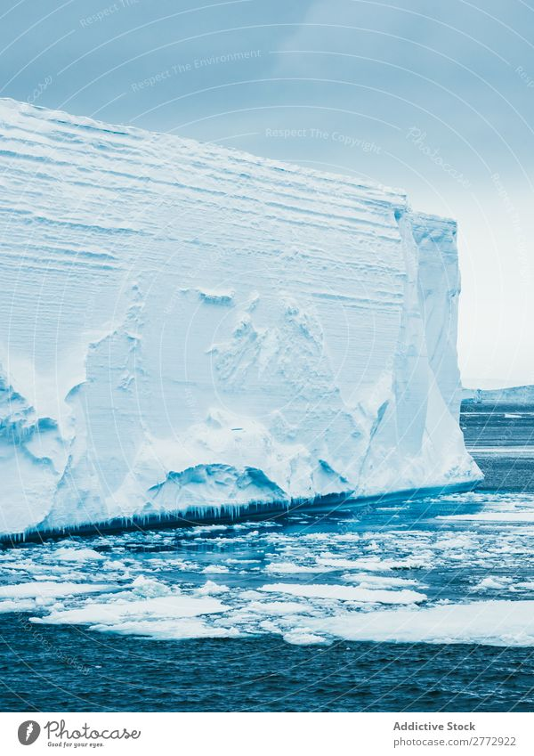 Wall of glacier in sea Glacier Wall (building) Ice Ocean Iceberg Landscape Dramatic Environment huge Beauty Photography Water polar North The Arctic