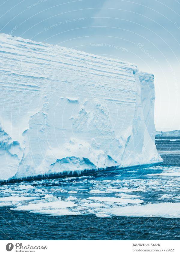 Wall of glacier in sea Glacier Wall (building) Ice Ocean Iceberg Landscape Dramatic Environment