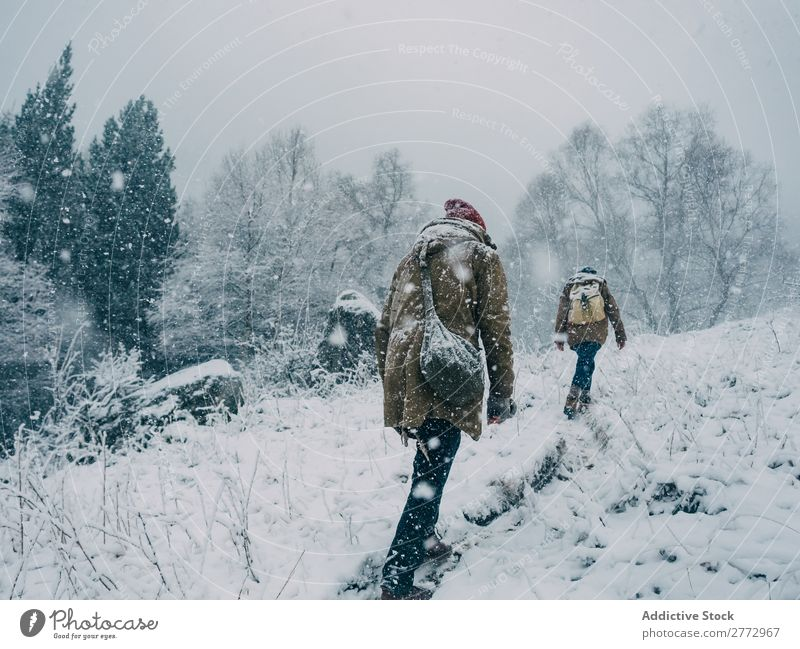 People climbing hill in snow Human being Hill Snowfall travelers Tourism Nature Winter Freedom Landscape exploration Weather Fresh trekking explorers Natural