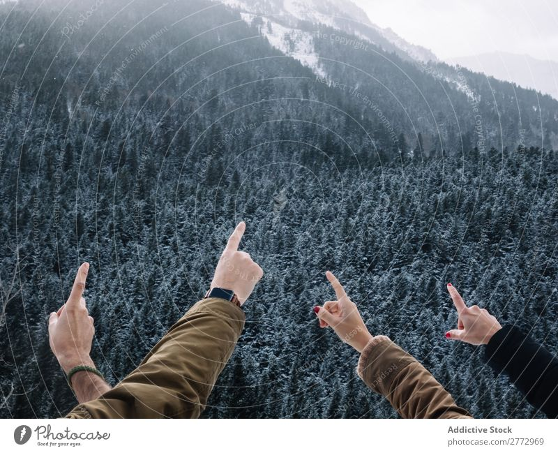 Crop hands pointing at mountains Human being Mountain travelers Posture pointing away Indicate explorers Snow Forest Freedom Demonstration Adventure Forefinger