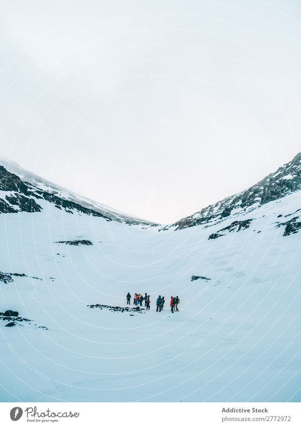 People walking on top of snowy mountains Human being Mountain Snow Expedition trekking explorers Extreme Plain Backpacking Weather Altimeter Tourism Seasons