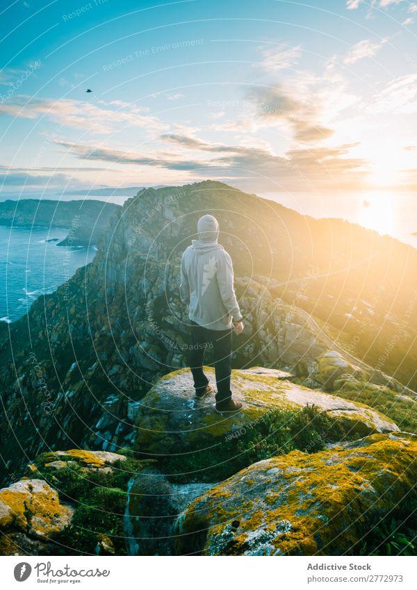 Traveler posing on amazing landscape Man Panorama (Format) Ocean Rock Mountain Sunlight Virgin forest