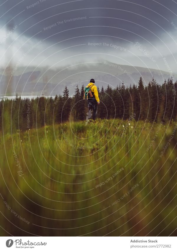 Backpacker in rural field Man Forest Cloud cover Human being Backpacking Landscape Vantage point
