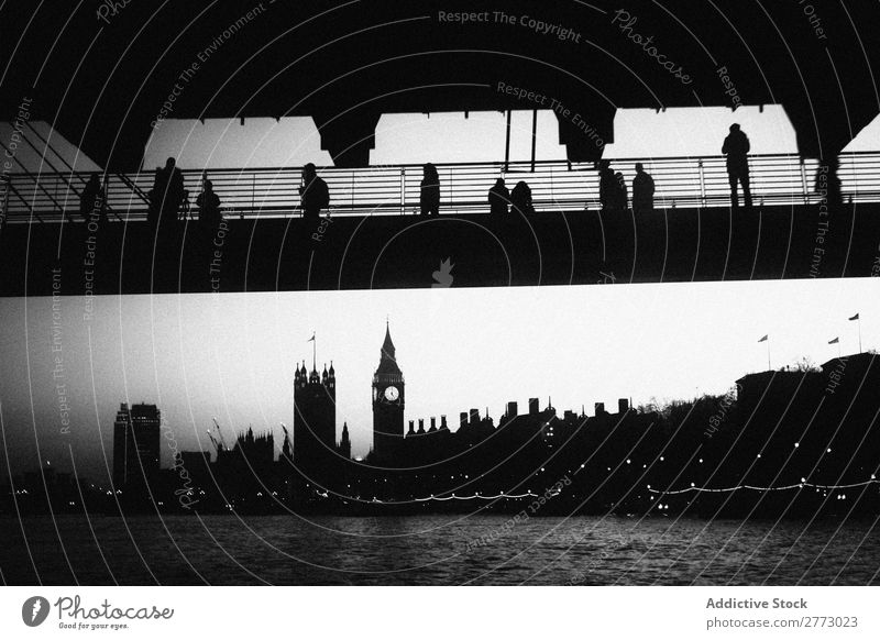 People looking at Big Ben. Monochrome Black & white photo Silhouette Human being Old Vintage Bridge