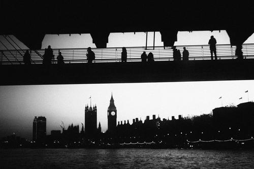 People looking at Big Ben. Monochrome Black & white photo Silhouette Human being Old Vintage Bridge Appearance Retro River Attraction Historic touristic