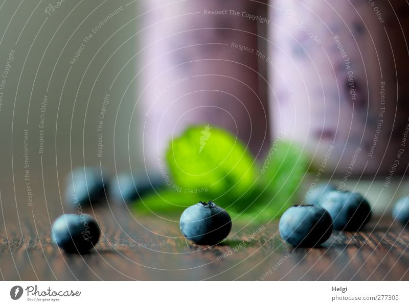 ripe blueberries and green leaves lie on a wooden table, in the background two glasses with blueberry smoothie Food Dairy Products Fruit Blueberry Mint leaf