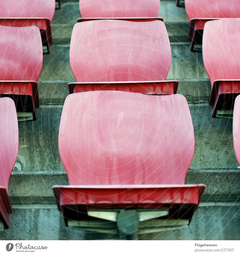 fair weather fans Sports Sporting Complex Stadium Old Concrete seat shell Seating Row of seats Chair Plastic Colour photo Exterior shot Day Beaded Deserted