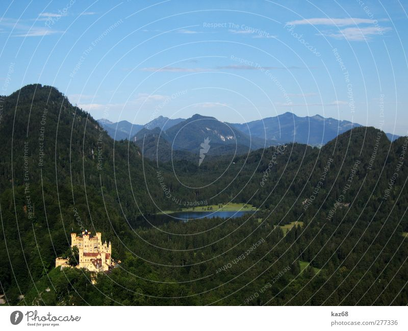 Hohenschwangau Castle Vacation & Travel Tourism Trip Summer vacation Mountain Hiking Architecture Landscape Forest Hill Rock Alps Manmade structures Building