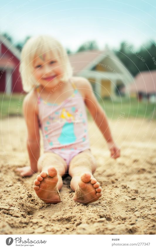 Set in the sand Joy Leisure and hobbies Vacation & Travel Summer Beach Human being Feminine Child Girl Infancy Feet 1 3 - 8 years Sand Beautiful weather Blonde