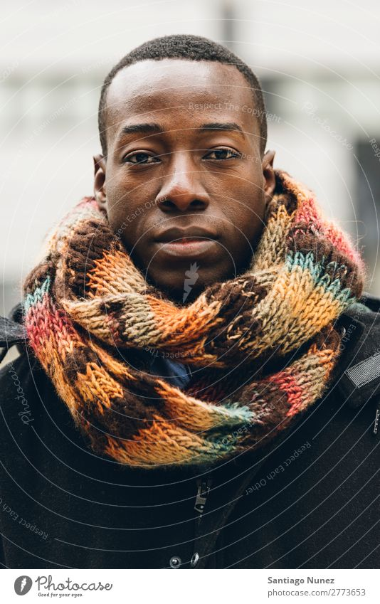 Handsome african man in the Street. Man Black African American Portrait photograph portraiture Business Businessman Car Hood Cold Youth (Young adults) Scarf