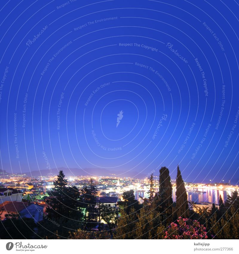 Marjan Town Port City Skyline Populated House (Residential Structure) Vacation & Travel Split Croatia Cypress Night Light Adriatic Sea Mountain Summer Tourism