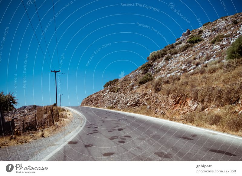 on the road again Greece Crete Deserted Transport Traffic infrastructure Road traffic Street Lanes & trails Infinity Dry Wild Blue Brown Wanderlust Adventure