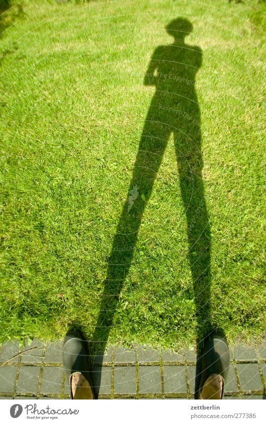 shade in the grass Garden Garden plot Garden allotments Shadow Man Human being Twilight Sunset Feet Lanes & trails Garden path Grass Lawn Grass surface Meadow