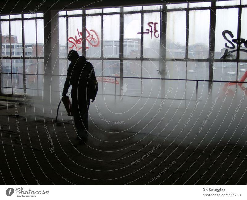 sprayed empty Extinguisher Empty Glazed facade Back-light Industrial site Man Black Gray Fog Wörth am Rhein Science & Research Glass Human being Chemistry Smoke