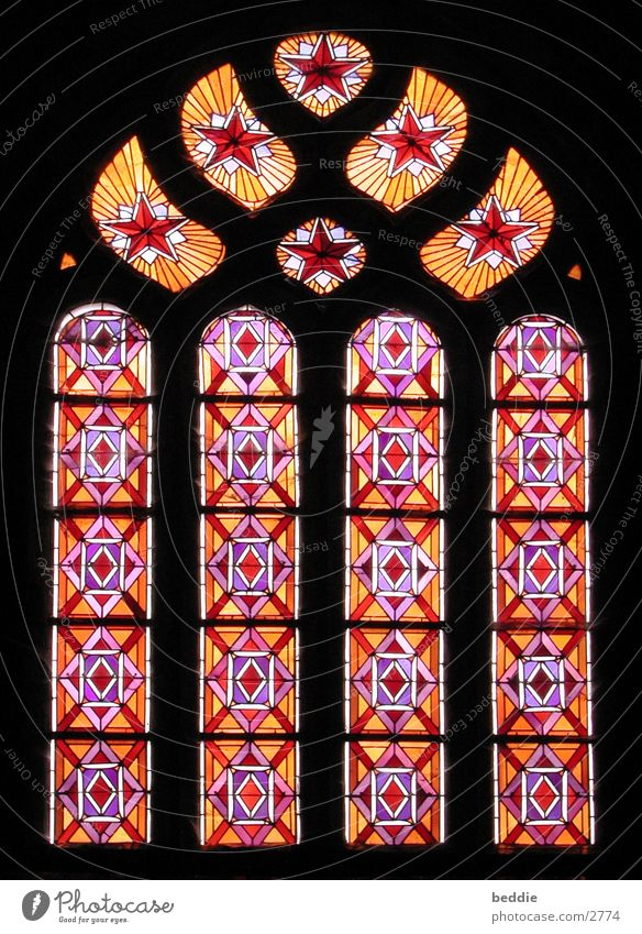 church windows Church window Brittany Gothic period Light Glass Pont-Croix Old Colour Architecture