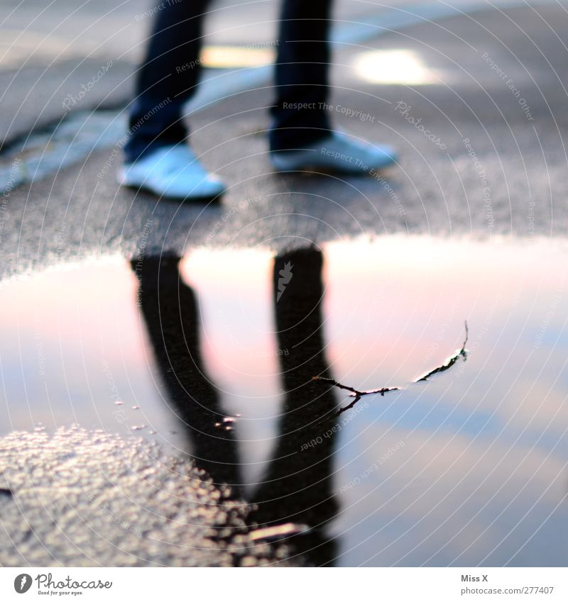 mirrors Human being Legs Feet 1 Water Bad weather Rain Wet Puddle Mirror image Water reflection Colour photo Multicoloured Exterior shot Twilight Reflection