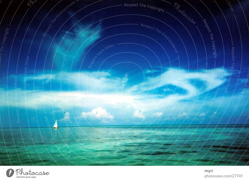Sky Ocean Summer Vacation & Travel Clouds Sailboat Central America Blue tone