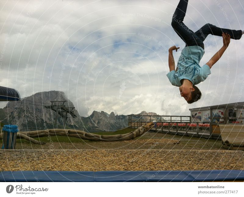 Human being Sky Nature Youth (Young adults) Blue Summer Joy Adults Mountain Above Movement Jump Young man Leisure and hobbies Individual Fitness