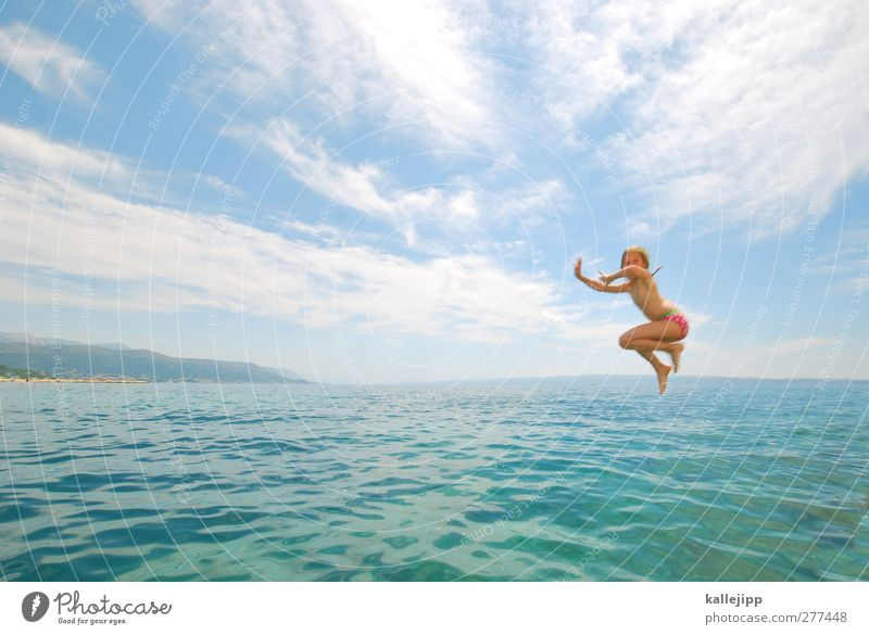 Human being Child Vacation & Travel Summer Sun Ocean Girl Clouds Far-off places Life Playing Freedom Coast Jump Swimming & Bathing Body