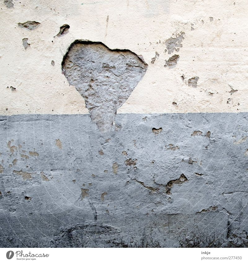 with time the heart grows and becomes love Deserted Wall (barrier) Wall (building) Facade Rendered facade Stone Concrete Heart Old Broken Love Decline