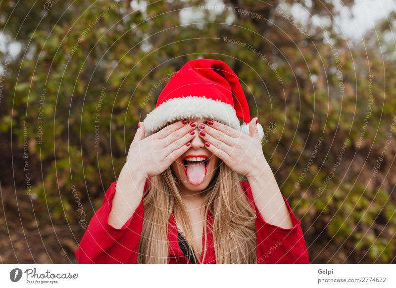 Young woman with Christmas hat in the forest Lifestyle Joy Happy Beautiful Face Winter Christmas & Advent Human being Woman Adults Lips Nature Fog Park Forest