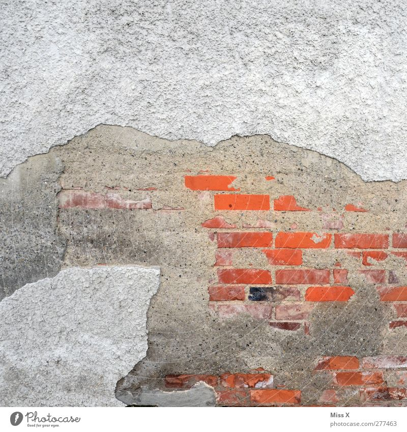 colour stain Wall (barrier) Wall (building) Facade Old Gray Red Decline Transience Brick Plaster Crack & Rip & Tear Colour photo Pattern Structures and shapes