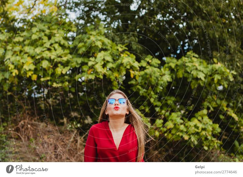 Pretty blonde girl with red clothes Lifestyle Style Beautiful Human being Woman Adults Lips Nature Autumn Tree Leaf Park Street Fashion Clothing Sunglasses