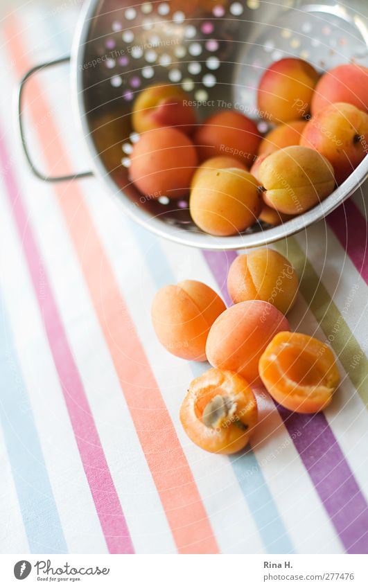 apricots Fruit Apricot Nutrition Vegetarian diet Sieve To fall Fresh Healthy Bright Sweet Multicoloured Vitamin Tablecloth Stripe Pattern Striped Deserted