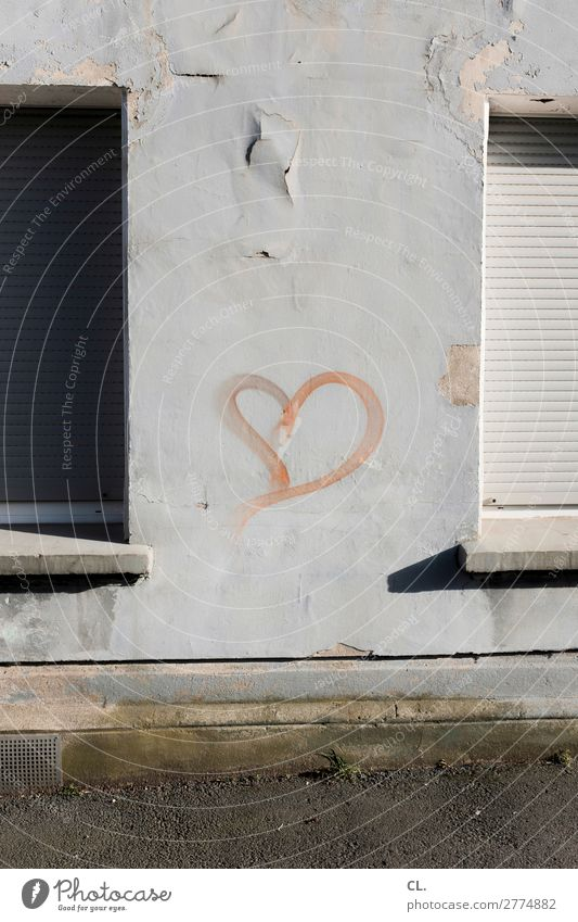 heart on wall Deserted House (Residential Structure) Wall (barrier) Wall (building) Window Lanes & trails Venetian blinds Sign Graffiti Heart Old Broken Decline