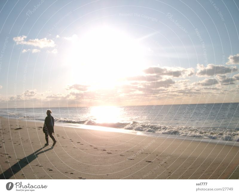 Human being Water Sun Ocean Beach Loneliness Far-off places Sylt