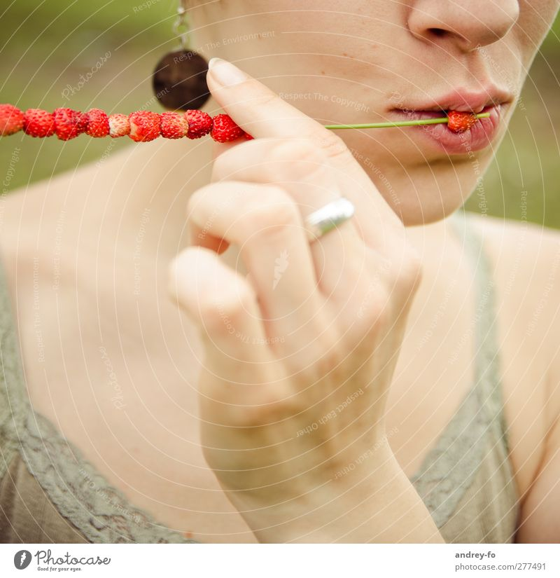 Nature Youth (Young adults) Hand Beautiful Red Relaxation Feminine Young woman Eating Healthy Contentment Mouth Esthetic Lifestyle Touch Wellness
