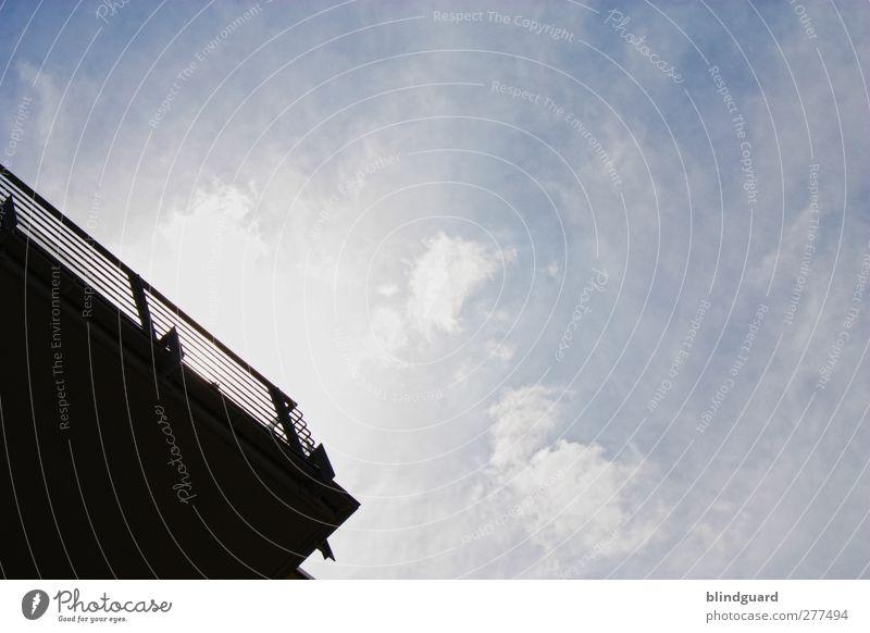 Sky Blue White Sun Clouds Black Above Architecture Building Metal Line Wind Concrete Esthetic Beautiful weather Gloomy