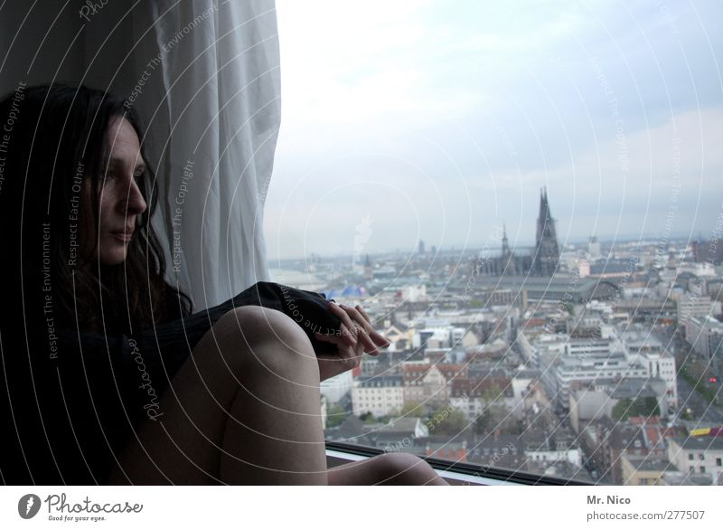 Human being Woman City Calm Adults Face Window Feminine Sadness Building Legs Room Flat (apartment) Skin Church High-rise