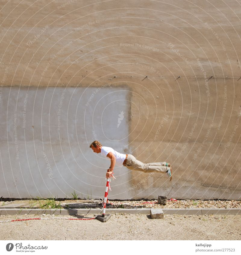 Olympic Human being Man Adults 1 Jump Barrier Whimsical Athletic Colour photo Exterior shot Copy Space top Contrast Full-length Downward Bright background