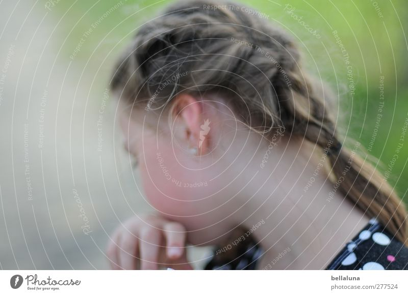 Hiddensee. Not now. Human being Feminine Child Infancy Life Head Hair and hairstyles Ear Hand 1 8 - 13 years Garden Park Meadow Movement Colour photo