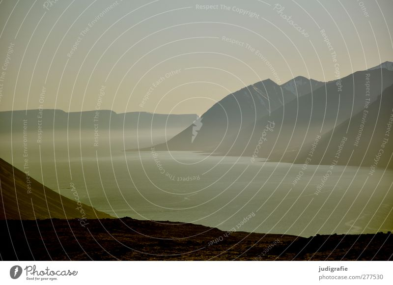 Iceland Environment Nature Landscape Water Rock Mountain Fjord Cold Beautiful Wild Moody Idyll Calm Fog Haze Colour photo Subdued colour Exterior shot Deserted