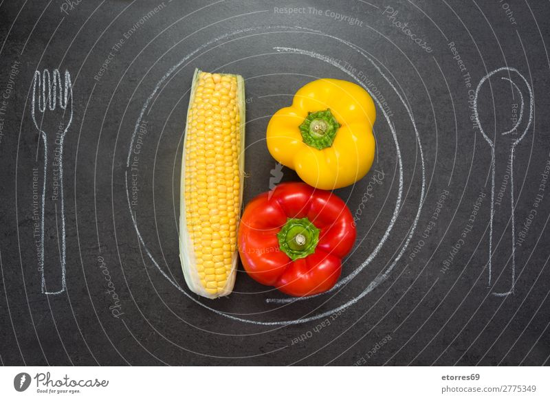 Corn and peppers on slate table Pepper corn Plate Spoon Fork Chalk Slate Table Food Healthy Eating Food photograph Diet Vegetable Nutrition Yellow Red Kitchen