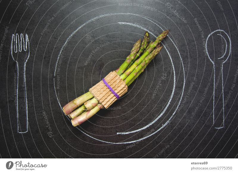 Asparagus on slate table. Plate, fork and spoon drawn with chalk Healthy Eating Green Food photograph Black Stone Nutrition Fresh Table Drop Diet Consistency